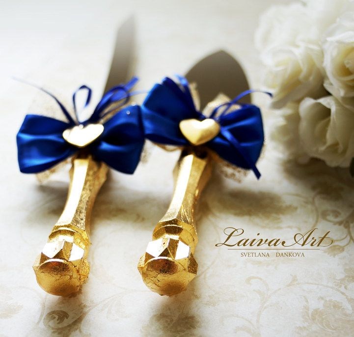 Blue and Gold Wedding Cake Server Set & Knife Cake Cutting Set Wedding Cake…