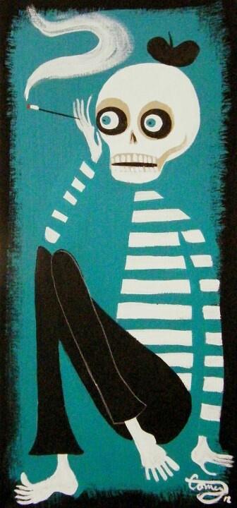 El Gato Gomez Retro Dia de los Muertos Skull Beatnik Art