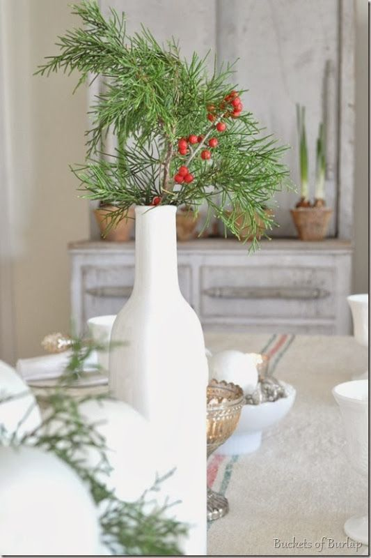 Farmhouse Christmas centerpiece with grain sack table runner
