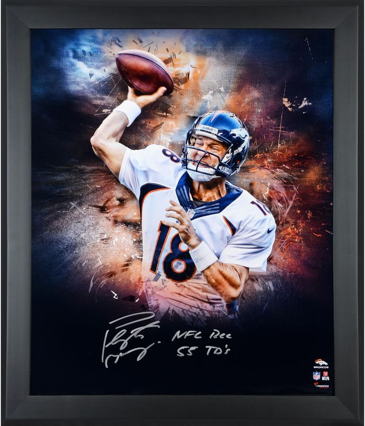 "Peyton Manning Denver Broncos Framed Autographed 20"" x 24"" In Focus Photograph with NFL REC 55 TDS Inscription"