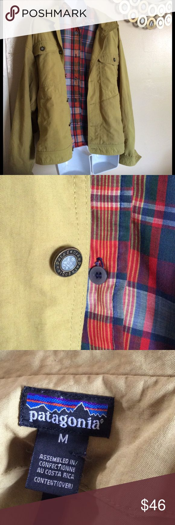 Size M Patagonia light weight button up jacket Mustard color. 1st two pics true to color. GUC. Button up collared. Utility pockets. Patagonia Jackets & Coats