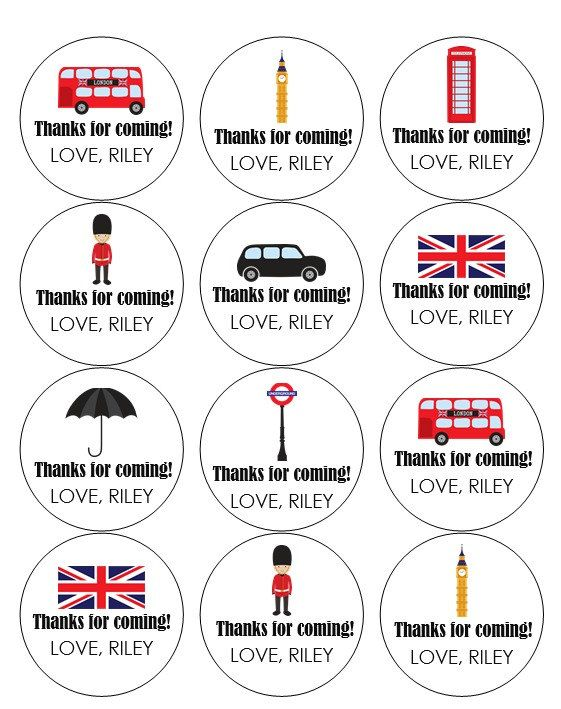 12 London Stickers, Going Away Party, London Labels, Thank You Labels, London Flag, Big Ben, Umbrella Labels, Solider Tags, London Tags by thepartypenguin on Etsy