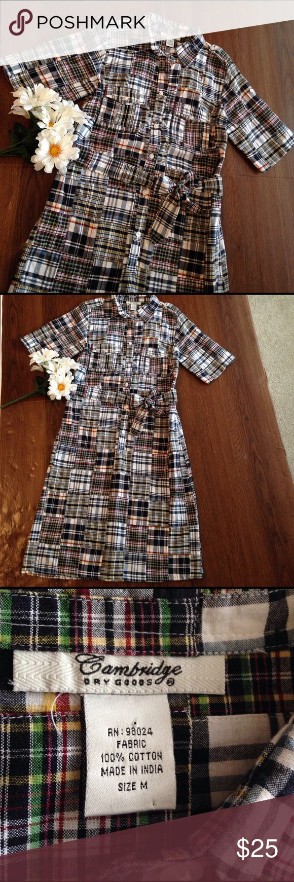 Cambridge Dry Goods madras dress Cambridge Dry Goods madras dress, buttons half way down, fabric belt, size medium, 41 inches shoulder to hem, waist 17 inches flat laying, excellent condition, sleeves have roll tabs to roll them up shorter. Perfect dress for summer picnics and barbecues!!! Cambridge Dry goods Dresses