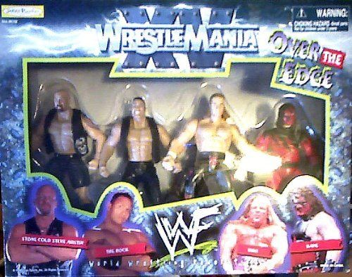 WWF WrestleMania XV: Over the Edge Series Including Stone Cold Austin, The Rock, HHH (Triple H) and Kane by Jakks. $81.48. All in one set!. Stone Cold Austin VS. The Rock!. HHH (Triple H) Vs. Kane!. WrestleMania XV was a professional wrestling pay-per-view event produced by the World Wrestling Federation (WWF), which took place on March 28, 1999 at the First Union Center in Philadelphia, Pennsylvania. It was the fifteenth annual WrestleMania event and starred the W...