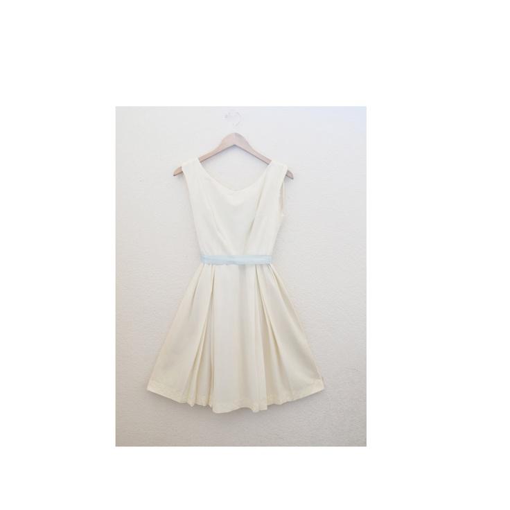 """""""The Audrey"""" Metal Zipper Dress, Vintage 1950s Cream Cocktail Dress, etsy.com"""