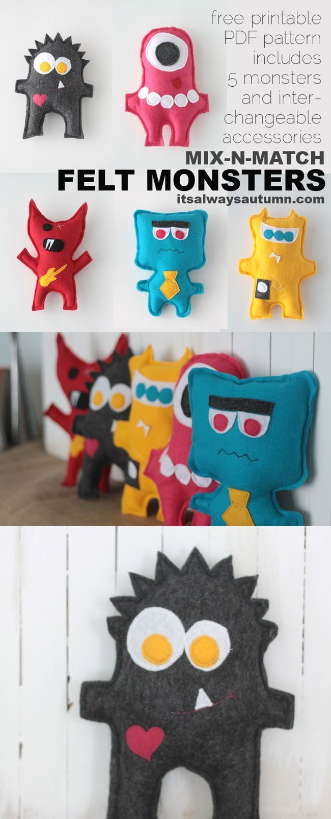 free sewing pattern for these adorable felt monsters! five different monsters and 15 accessories to mix and match - how fun to make with your kids! easy sew