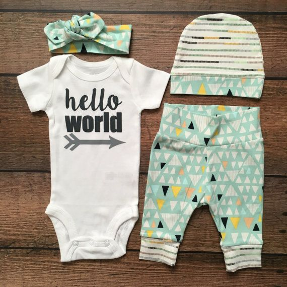Newborn Baby Gender Neutral coming home outfit Tiny by GigiandMax