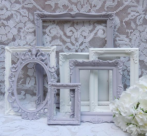 7 Ornate Picture Frames Lavender and White Picture Frames