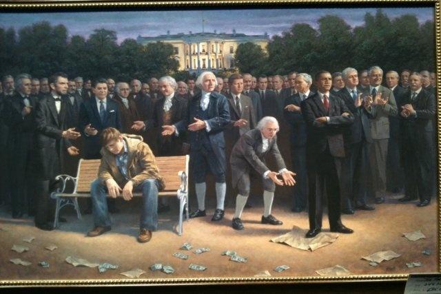 Jon McNaughton: A classical artist in 21st century politics   Washington Times Communities: White Houses, Parks Benches, The Artists, Found Father, Jon Mcnaughton, Bill Clinton, Forgotten Man, Barack Obama, United States