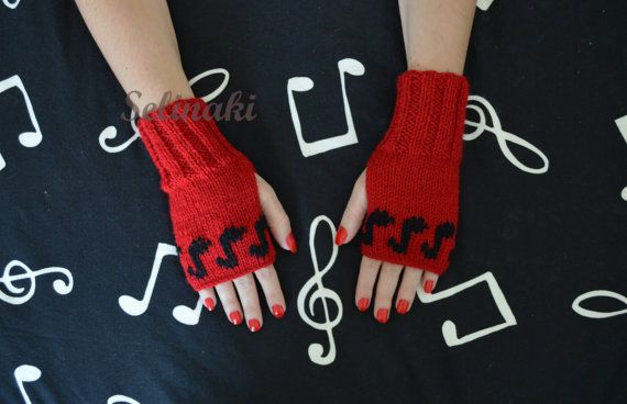 Hand knit Music notes fingerless gloves.  Handmade by me with 100% acrylic yarns.  Ready to ship.  Thanks for looking and please contact me for any