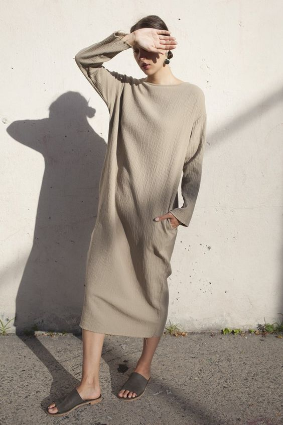 Black Crane Quilted Long Dress in Sand oroborostore.com