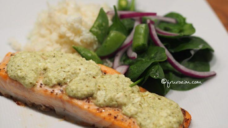 Laxfilé med pesto och fetaost | Salmon with pesto och feta.   #food #eatclean #pesto #feta #lovely