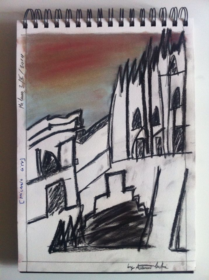 Milan - drawing using carbon and pastel colours