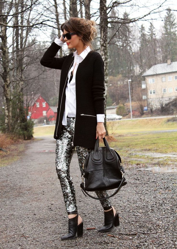 Sequined Pants + Givenchy Bag