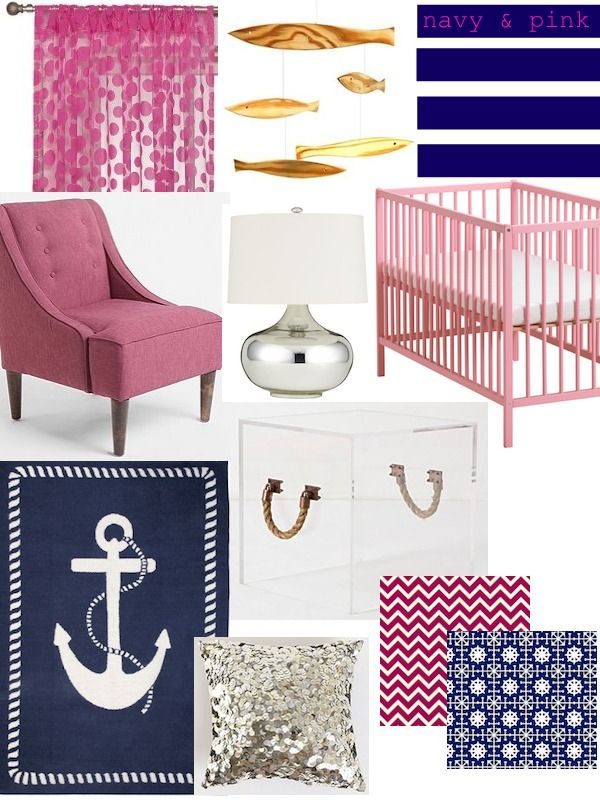 Nautical navy and pink.