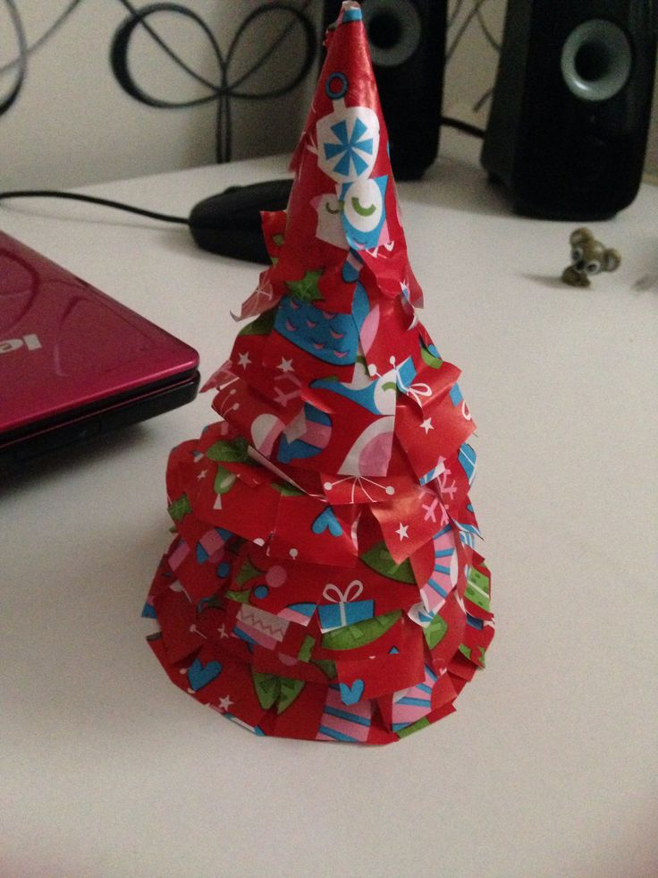 Christmas tree of brown paper