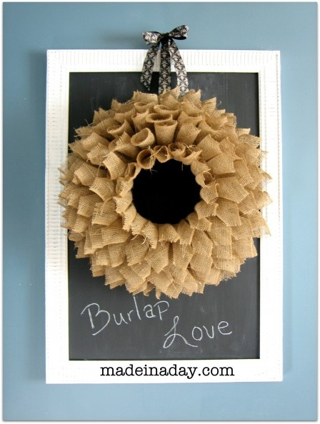 book page style burlap wreath