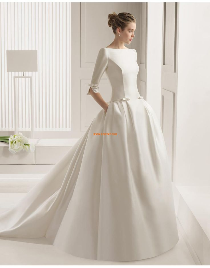 Traîne mi-longue Scintillant & brillant Nœud à boucles Robes de mariée 2015                                                                                                                                                                                 Plus