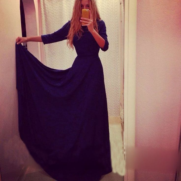 Sexy Women 3/4 Sleeve Evening Formal Party Ball Gown Prom Long Maix Dress #Unbranded #BallGown #Cocktail
