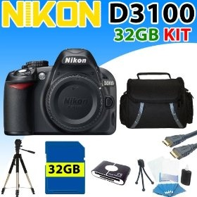 Nikon D3100 D-3100 Digital SLR Camera (Body) + 32gb Sdhc Memory, Reader, Aluminum Tripod, Hdmi Cable and More $525.99