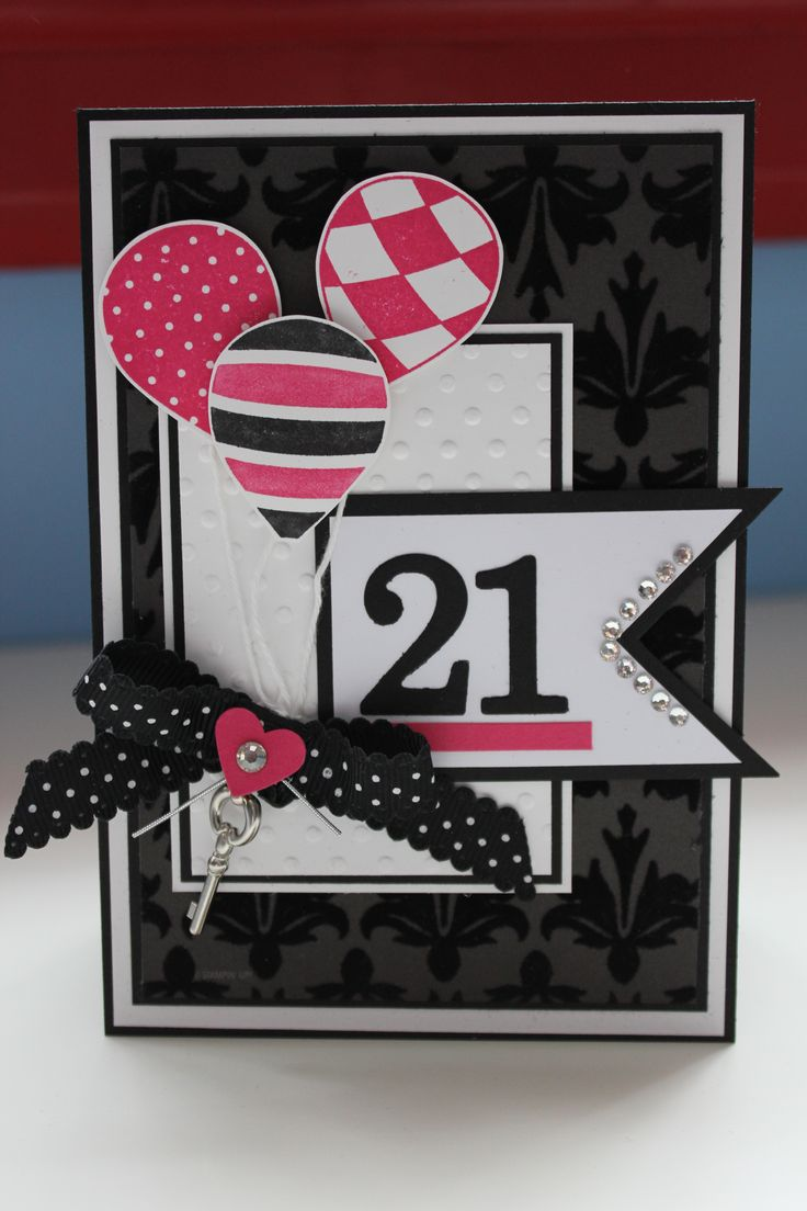 "handmade birthday card ... sophisticated black and white with splashes of hot pink ... balloons and a fishtail banner with die cut ""21"" ... dynamic look ... great card! ... Stampin' Up!"