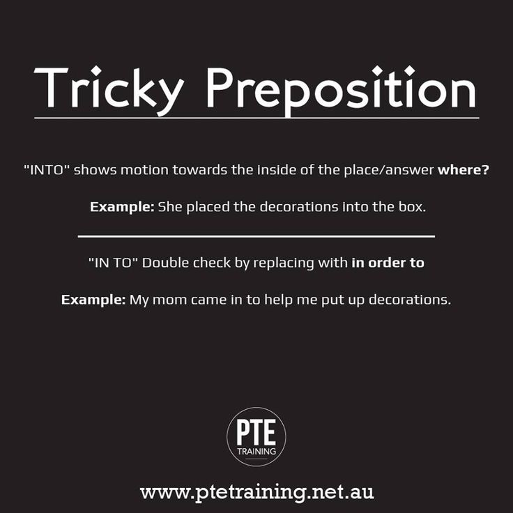 """Tricky Preposition"" Difference between INTO & IN TO"