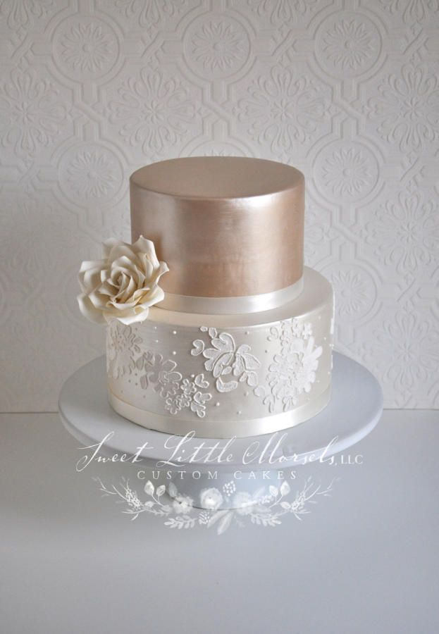 Champagne Luster Wedding Cake - Cake by Stephanie