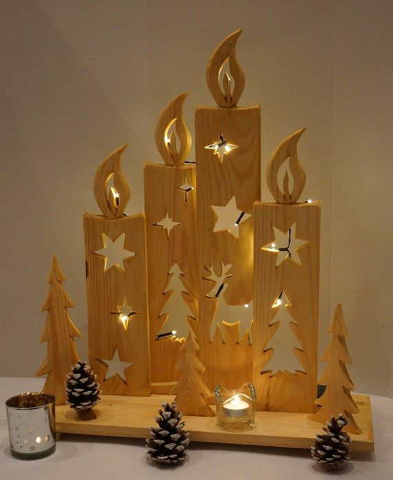 Gorgeous handmade decoration, FOUR candles made of wood, nature, outside or indoors, NEW, gift