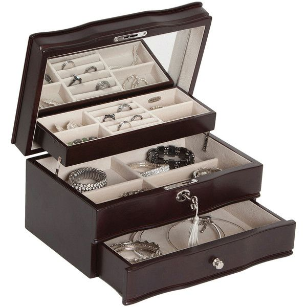 Mele & Co. Davina Locking Wood Jewelry Box (10310 RSD) ❤ liked on Polyvore featuring home, home decor, jewelry storage, wooden jewelry box, jewelry tray, jewelry-box, jewelry organizers and locking jewelry box