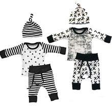 Bebê Roupas Meninos 3 pcs Set Roupas Recém-nascidos Da Criança Infantil Crianças Roupas de Bebê Menino T-shirt Calças Chapéu alishoppbrasil