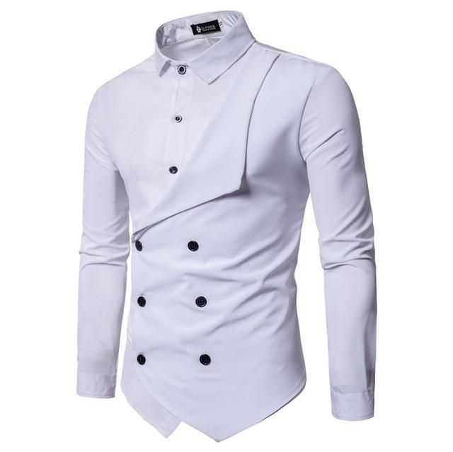 Men Shirt Brand Personality Double Breasted Fake Two Shirt Formal