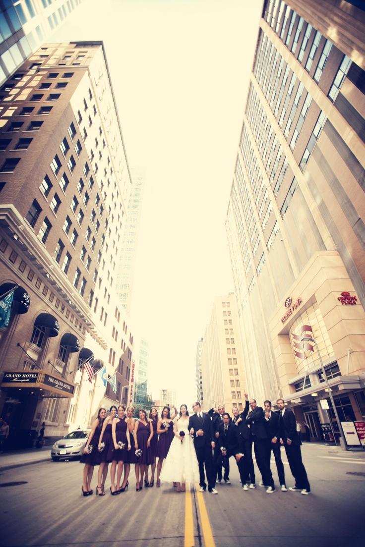 Wedding party shot in the city! Photo by Elijah. #WeddingPhotographersMN