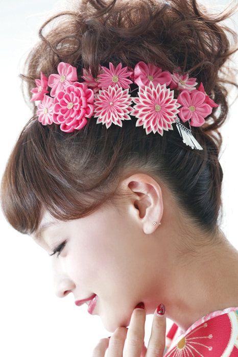 夏祭りの浴衣に☆つまみ細工の花の簪(かんざし)