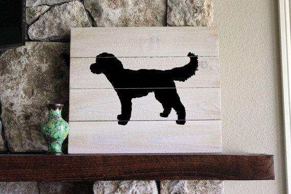 Goldendoodle Silhouette Black White Washed By Elhdesign77