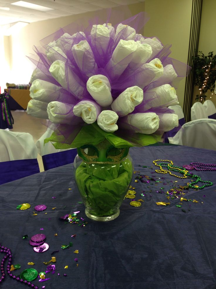 mardi gras baby shower diaper bouquet for the home pinterest