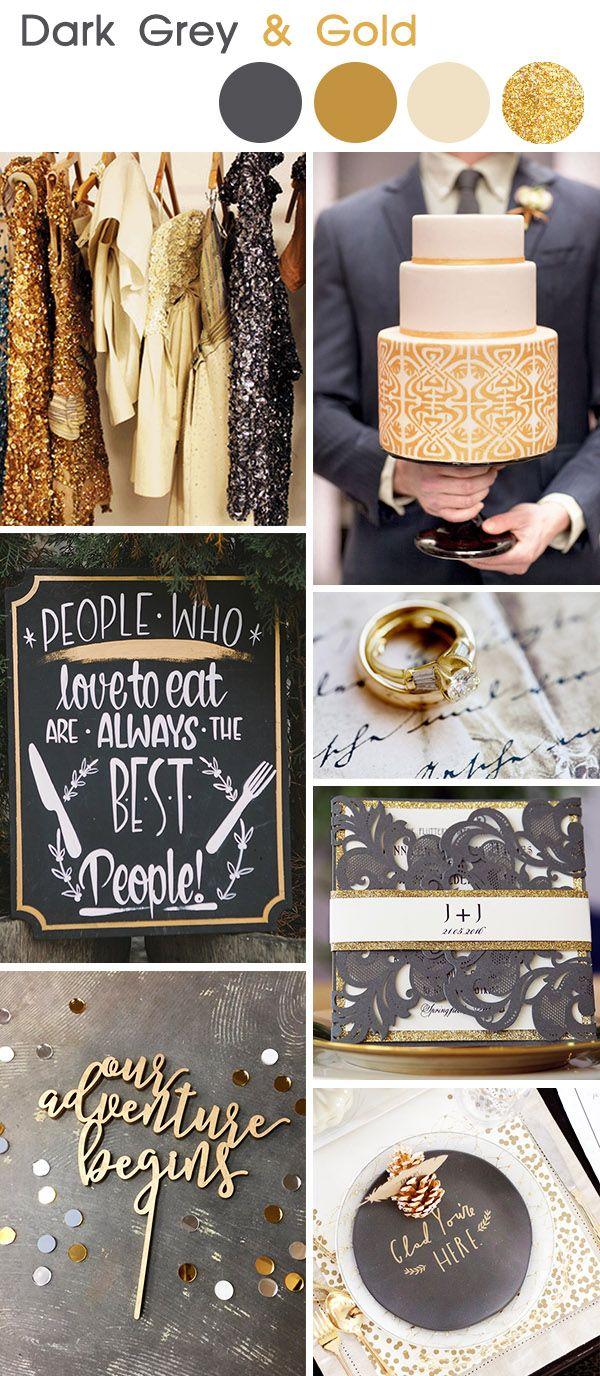 dark grey and gold vintage wedding colors