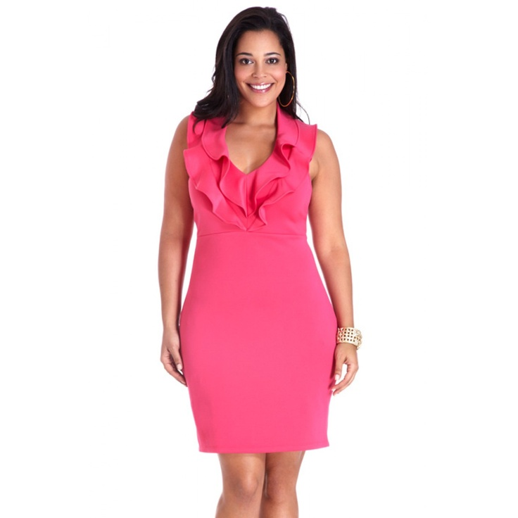 Fuscia Halter Ruffle Front Dress from Fashion to Figure