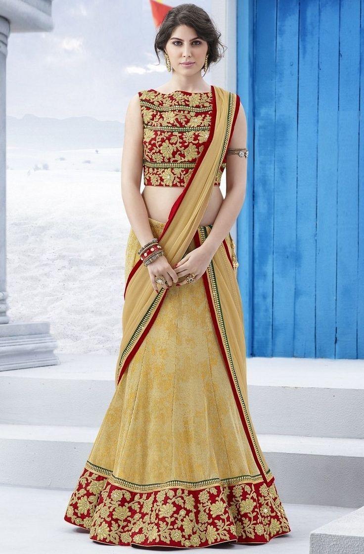 Beige China Crushed Embroidered #Lehenga With Silk Choli @mokshafashions  Item Code : MFL01290  Price : Rs.8,525.00  Shop @ http://mokshafashions.com/beige-china-crushed-embroidered-lehenga-with-silk-choli.html  #LehengaCholi #Ethnic #DesignerWear #Traditional #WeddingSeason #TransformationTuesday