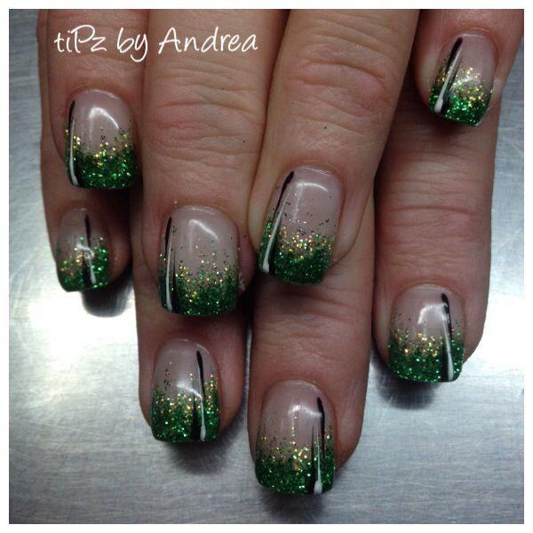 St Patricks day nails No shamrocks please!  tiPz by Andrea Medicine Hat Alberta