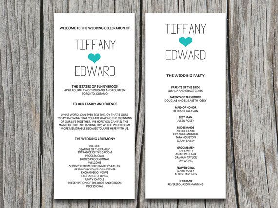 Diy Typography With Heart Wedding Program By Paintthedaydesigns