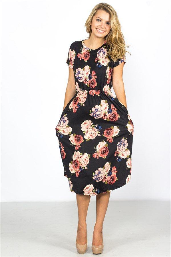 Floral Cinch Midi Dress   USA Made