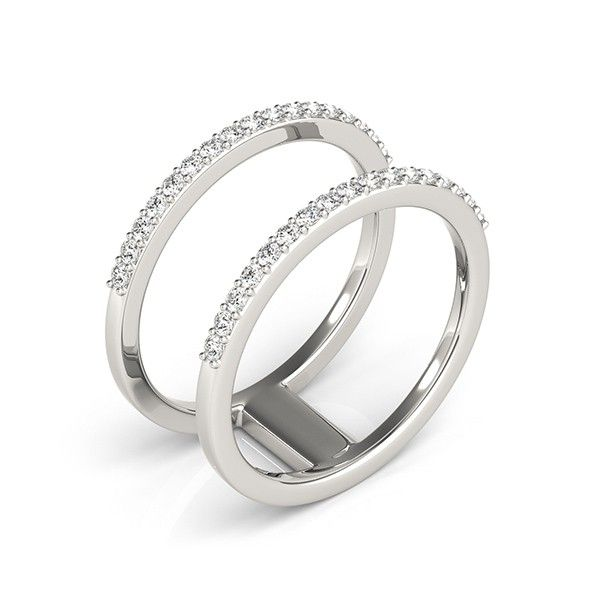 ''Gemini'' .34ctw Double Bar Split Shank Diamond Fashion Band A beautiful double band diamond fashion ring that any woman will love. Two elegant bands (.34ctw) that each hold seventeen sparkling round brilliant-cut diamonds and are connected by a sleek bar. This ring is stylish and glamorous and will make the perfect gift for any occasion.