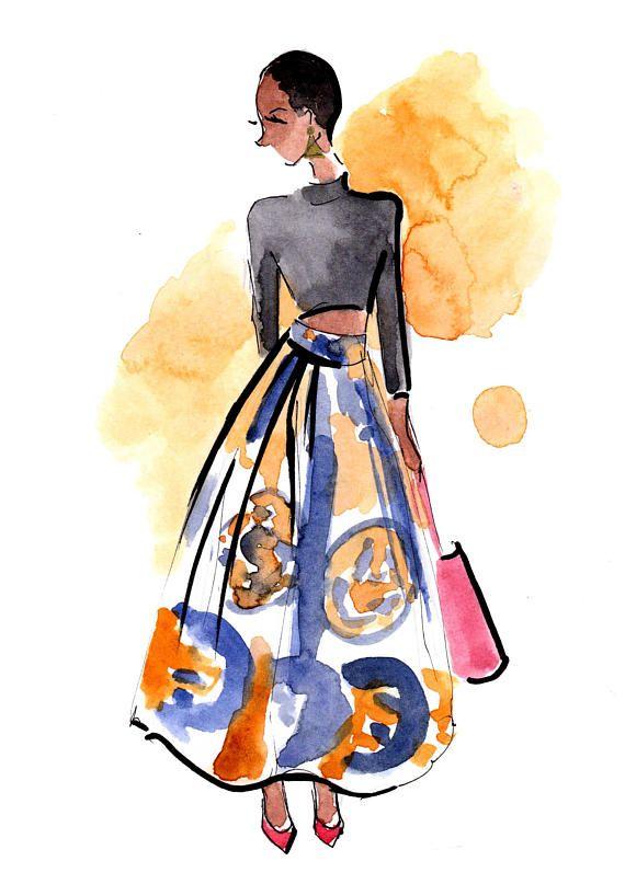 Custom Original Watercolour Fashion Sketch Portait