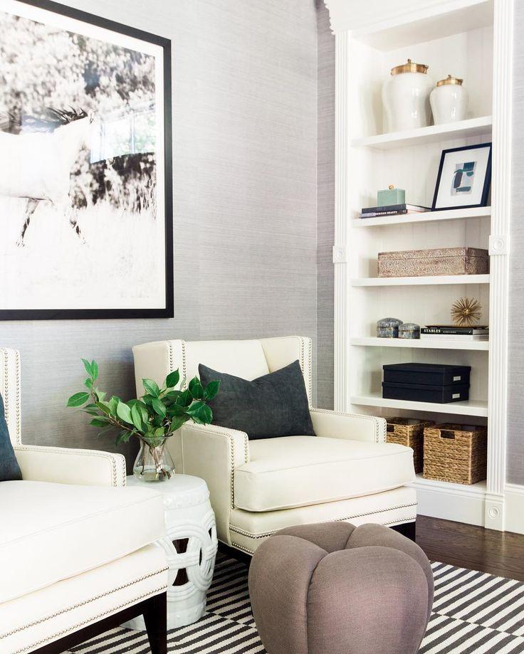 Metallic grasscloth wwwstudio mcgeecom Living SpacesLiving RoomsLiving