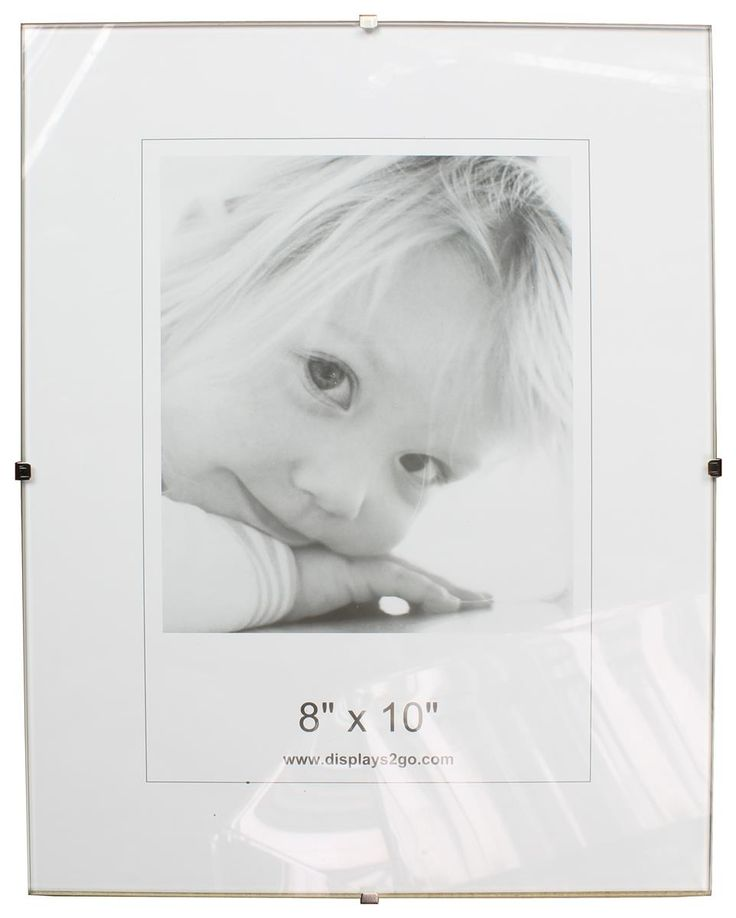 "7.875"" x 9.875"" Frameless Picture Frame for Wall, with Side Clips - Clear Glass"