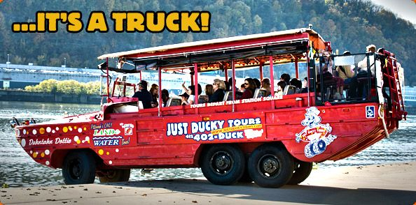 Just Ducky boat tours is a half jeep/half boat tour of the rivers and streets of Pittsburgh