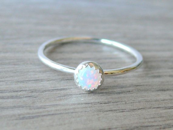 White opal ring Sterling silver stacking ring *******
