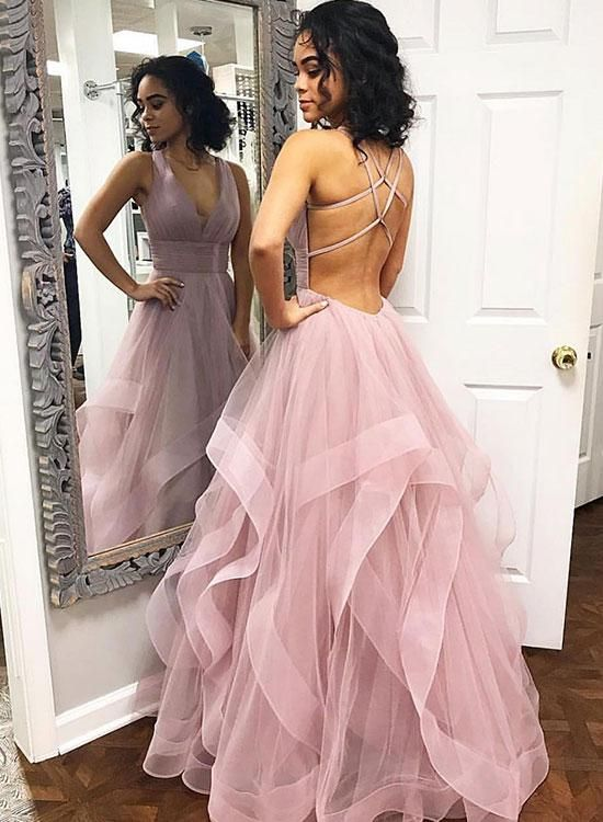 Pink v neck tulle long prom dress e0bf58cfb583