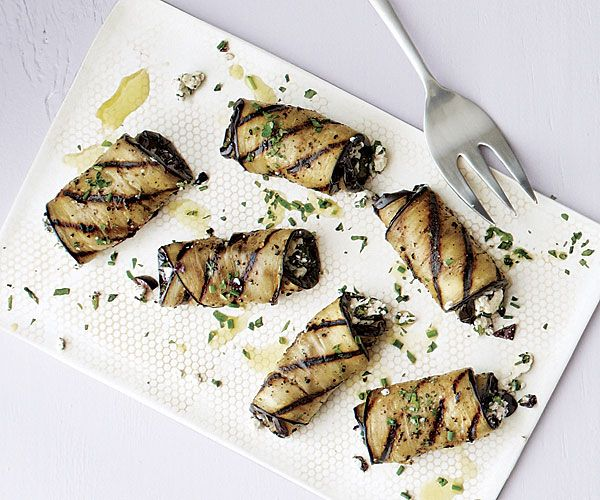 Grilled Eggplant Rolls with Olives and Feta Recipe | Mediterranean Diet