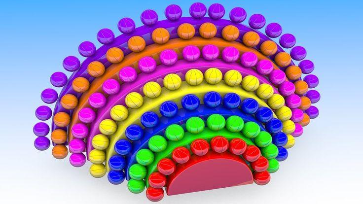 Learn Colors for Children with Rainbow Basketballs 3D Kids Kindergarten ...